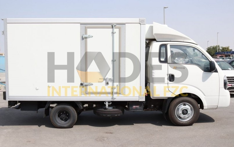 KIA K3000S Diesel with a refrigerator for transporting perishable goods.